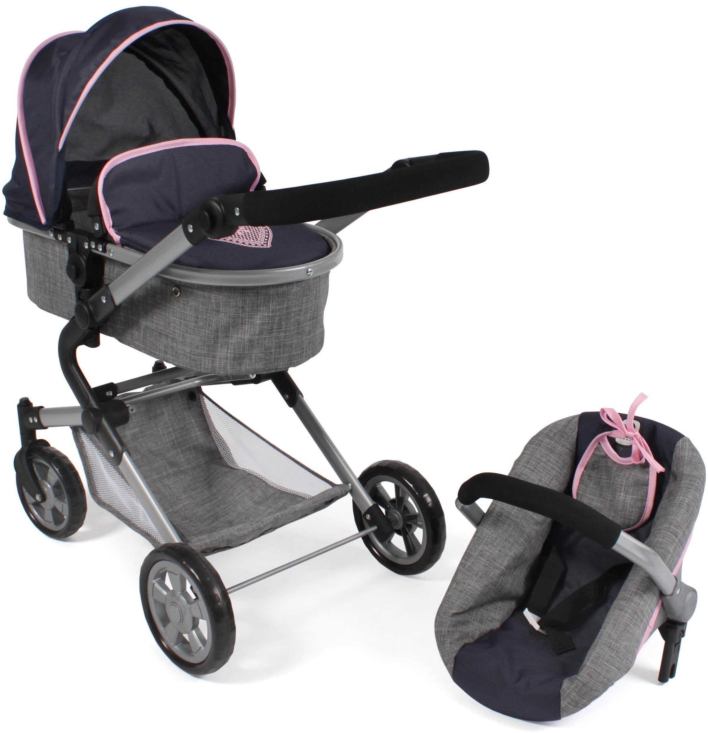 CHIC2000 Kombi-Puppenwagen Lia, grau-navy, mit Puppen-Autositz blau Kinder Puppenzubehör Puppen