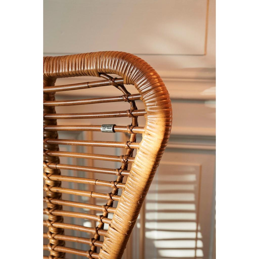 TOM TAILOR Sessel »T-RATTAN ARMCHAIR«, Rattanarmlehnstuhl mit Teakholzgestell und organischer Form
