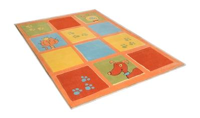 THEKO Kinderteppich »Lustige Haustiere«, rechteckig, 14 mm Höhe, Kurzflor, hochwertiges Acrylgarn, handgearbeiteter Reliefschnitt (Carving) kaufen