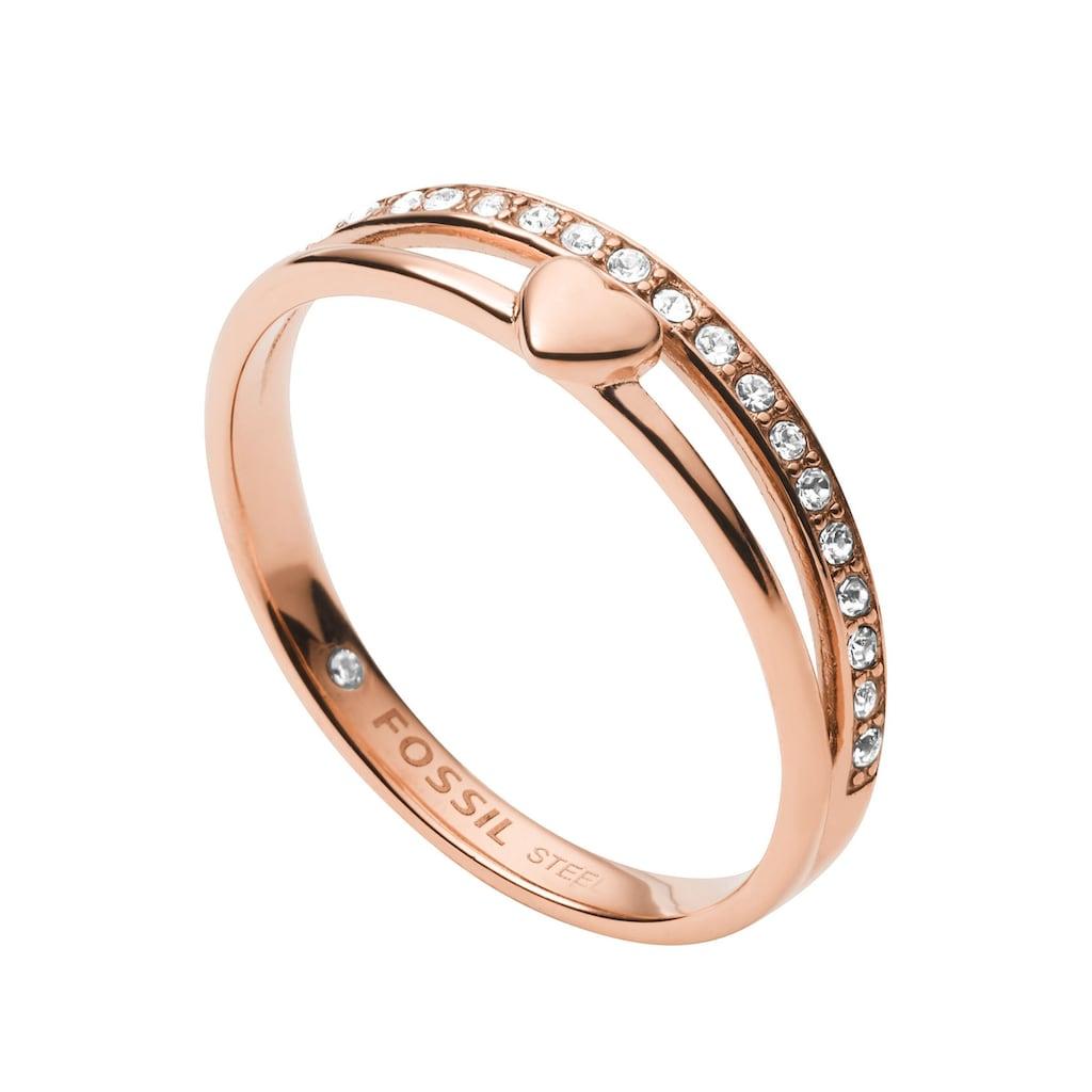 Fossil Fingerring »Herz, JF03460791«, mit Kristallsteinen