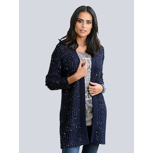 bbeb560b1af6 Alba Moda Strickjacke aus trendigem Paillettengarn gestrickt in Marineblau  im Online Shop von Baur Versand