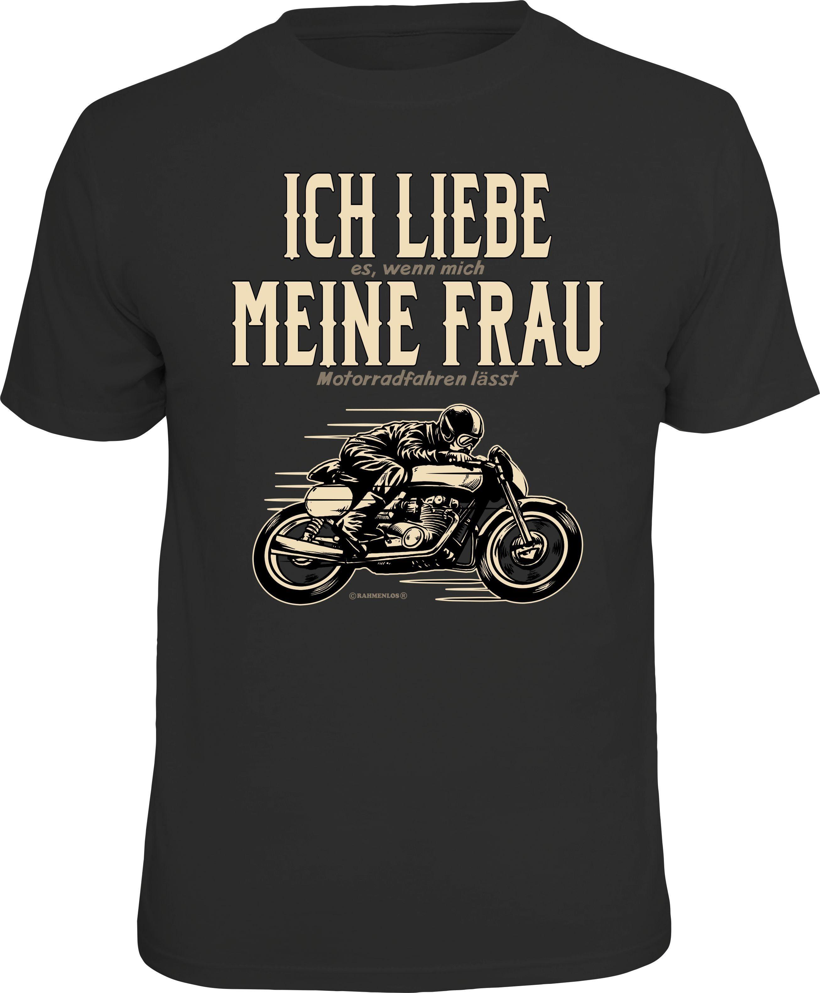 Rahmenlos T-Shirt mit witzigem Motorrad-Motiv Herrenmode/Große Größen/Shirts