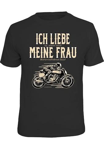 Rahmenlos T-Shirt mit witzigem Motorrad-Motiv kaufen