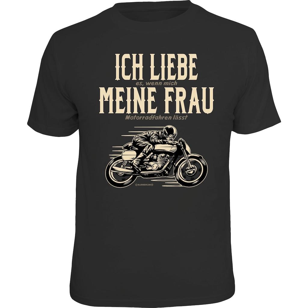 Rahmenlos T-Shirt mit witzigem Motorrad-Motiv
