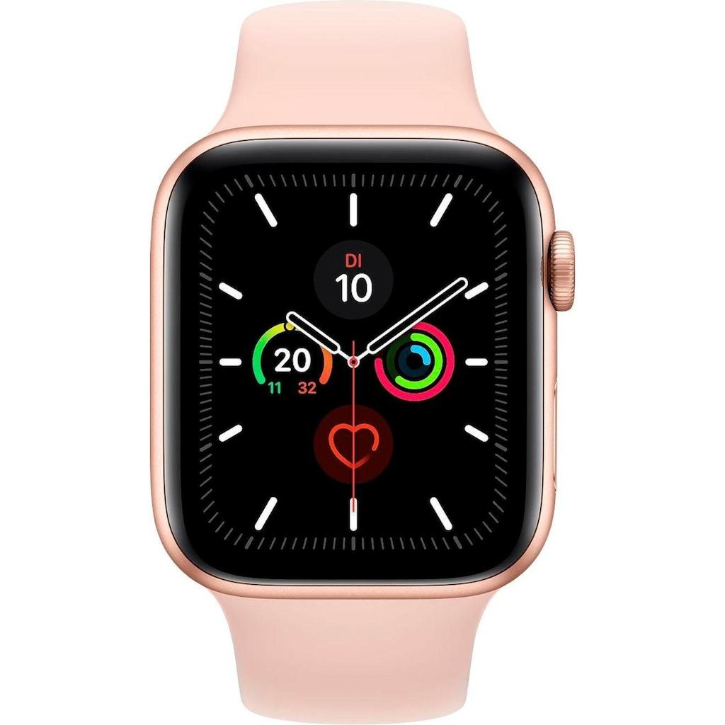 Apple Watch »Series 5 GPS, Aluminiumgehäuse mit Sportarmband 44mm«, (Watch OS 6 inkl. Ladestation (magnetisches Ladekabel)