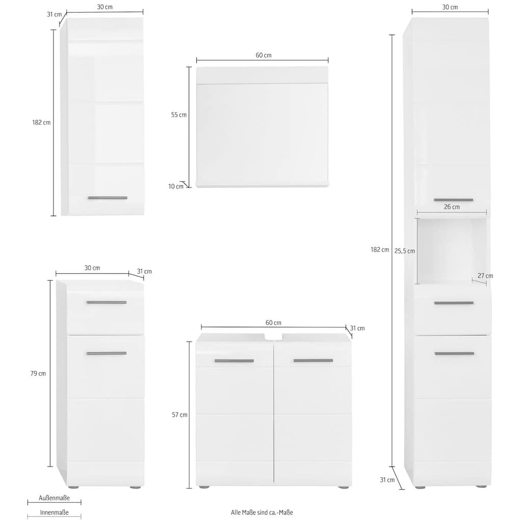 trendteam Badmöbel-Set »Skin«, (Set, 5 St.), Badezimmerschränke mit Fronten in Hochglanz- oder Holzoptik