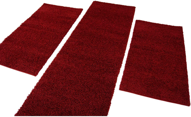Carpet City Bettumrandung Shaggi uni 500 rot Bettumrandungen Läufer Teppiche