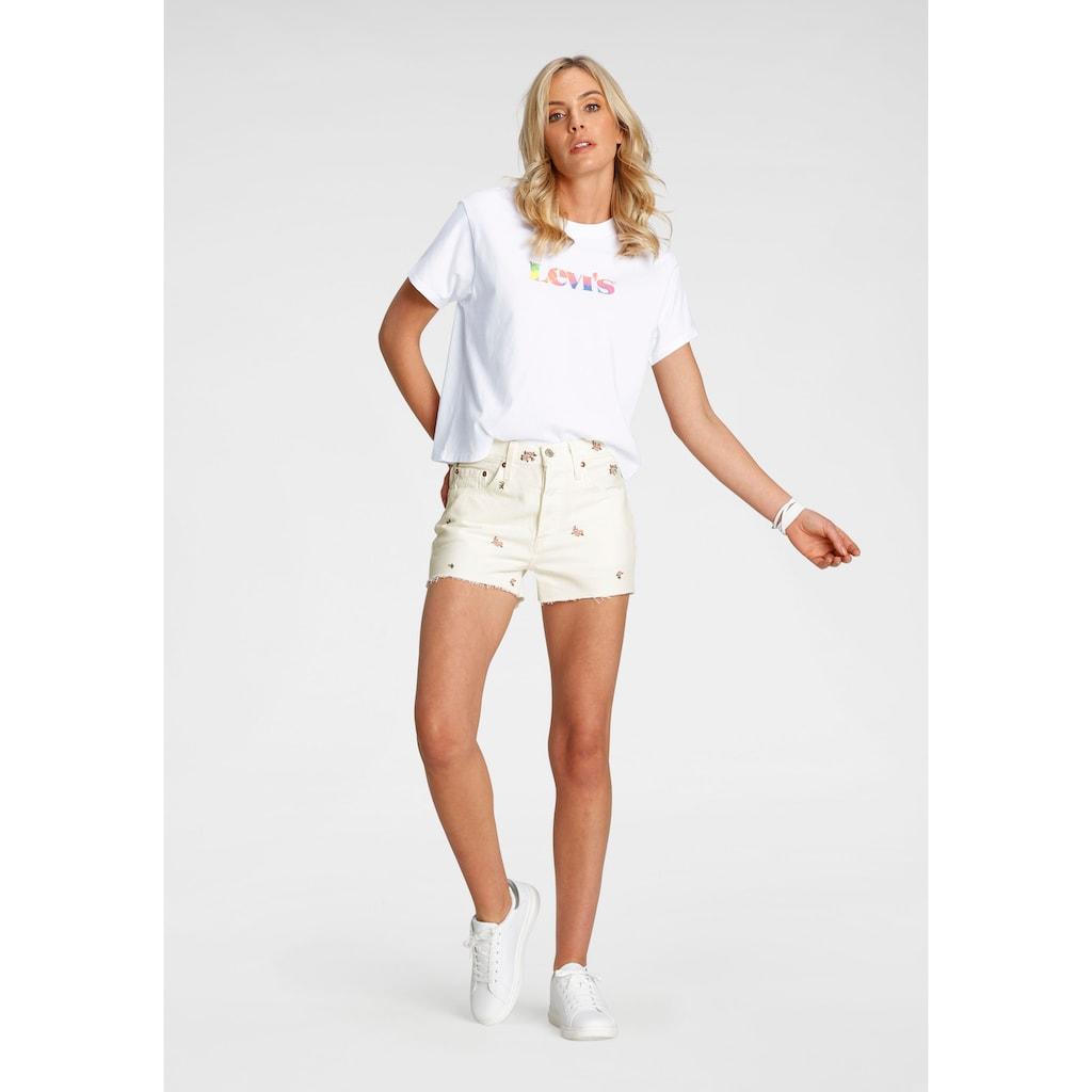 Levi's® Shorts »501 Original Short«, mit floraler Stickerei und offenem Saum