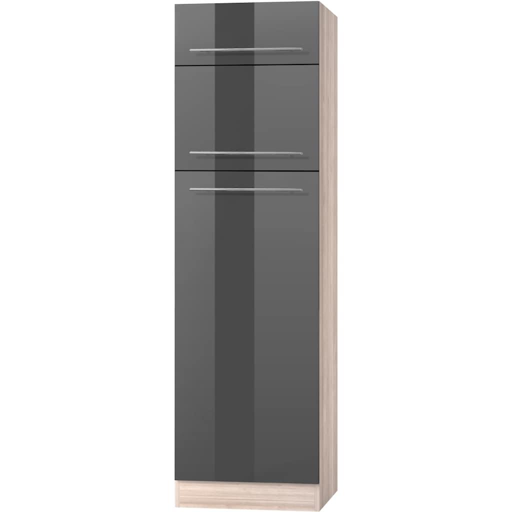 OPTIFIT Kühlumbauschrank »Bern«, 60 cm breit, 212 cm hoch, mit höhenverstellbaren Stellfüßen, mit Metallgriffen, geeignet für Einbau-Kühlgefrierkombinationen Nischenmaß 144 cm