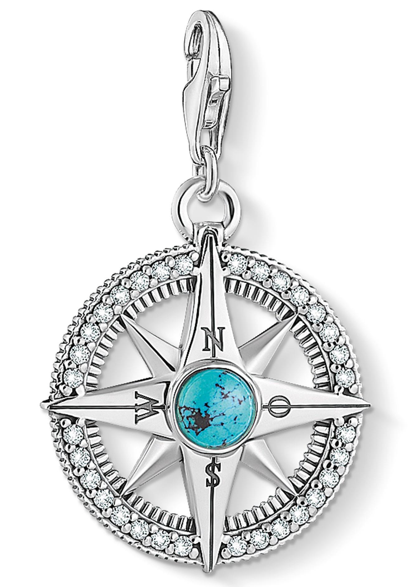 THOMAS SABO Charm-Einhänger Kompass türkis 1773-646-17 | Schmuck > Charms > Charms Anhänger | Blau | Thomas Sabo