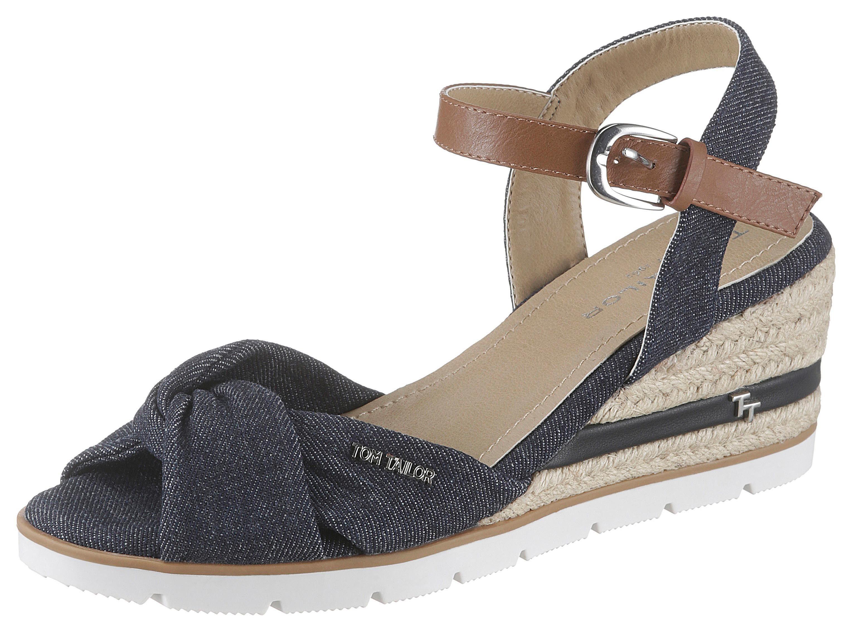 TOM TAILOR Sandalette, mit Label blau Damen Sandaletten Sandalen Sandalette