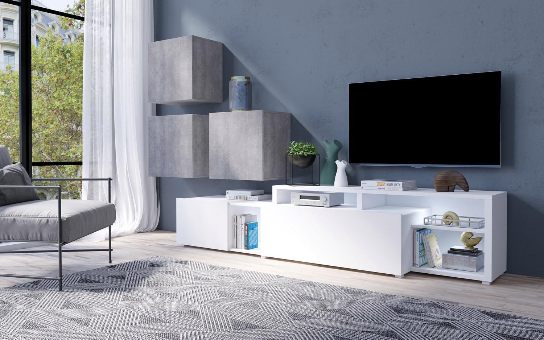 Wohnwand »Vento« (4-tlg.) | Wohnzimmer > Schränke > Wohnwände | Grau | Melamin