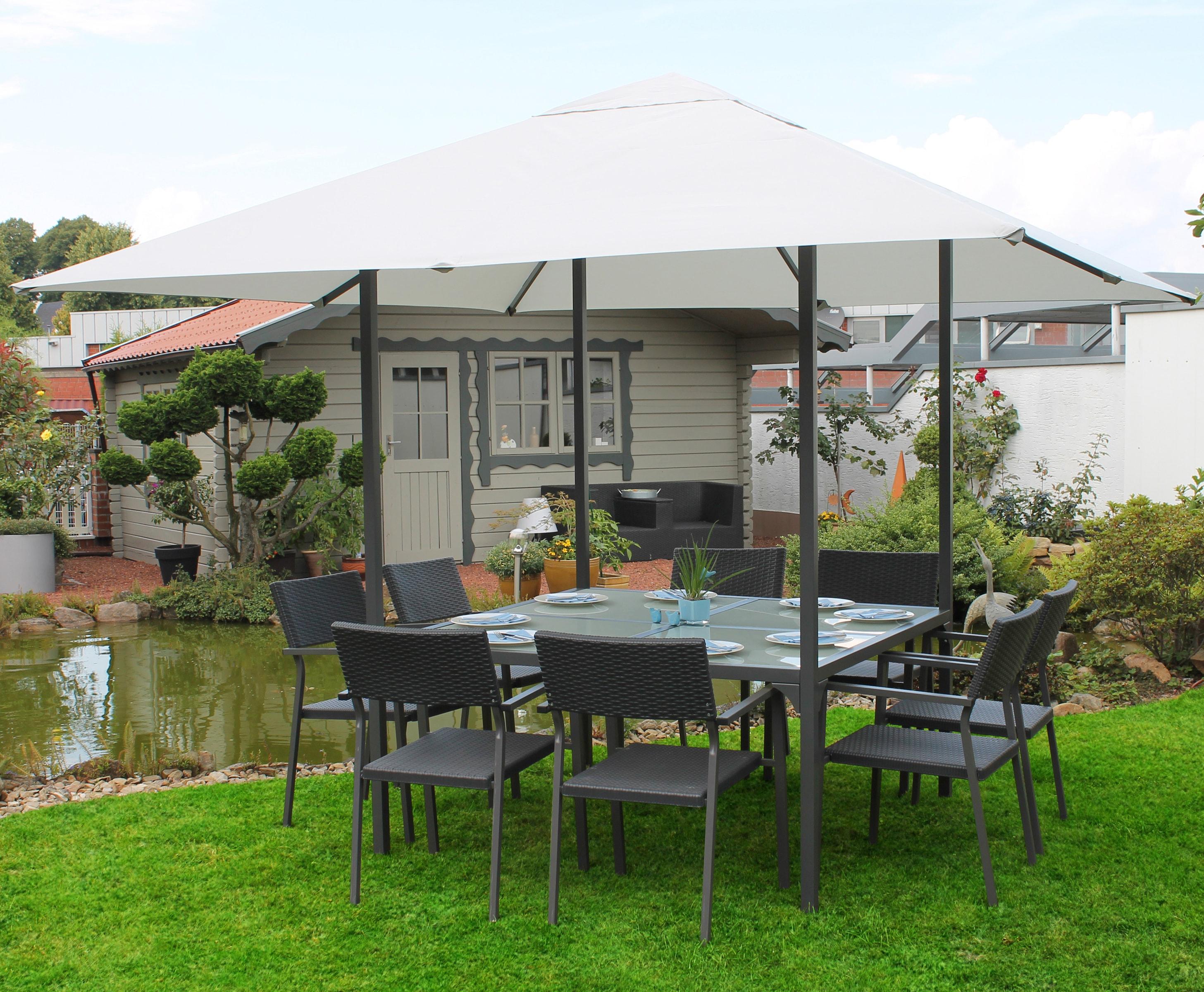 Leco Pavillon, BxT: 300x300 cm grau Pavillon Pavillons Garten Balkon