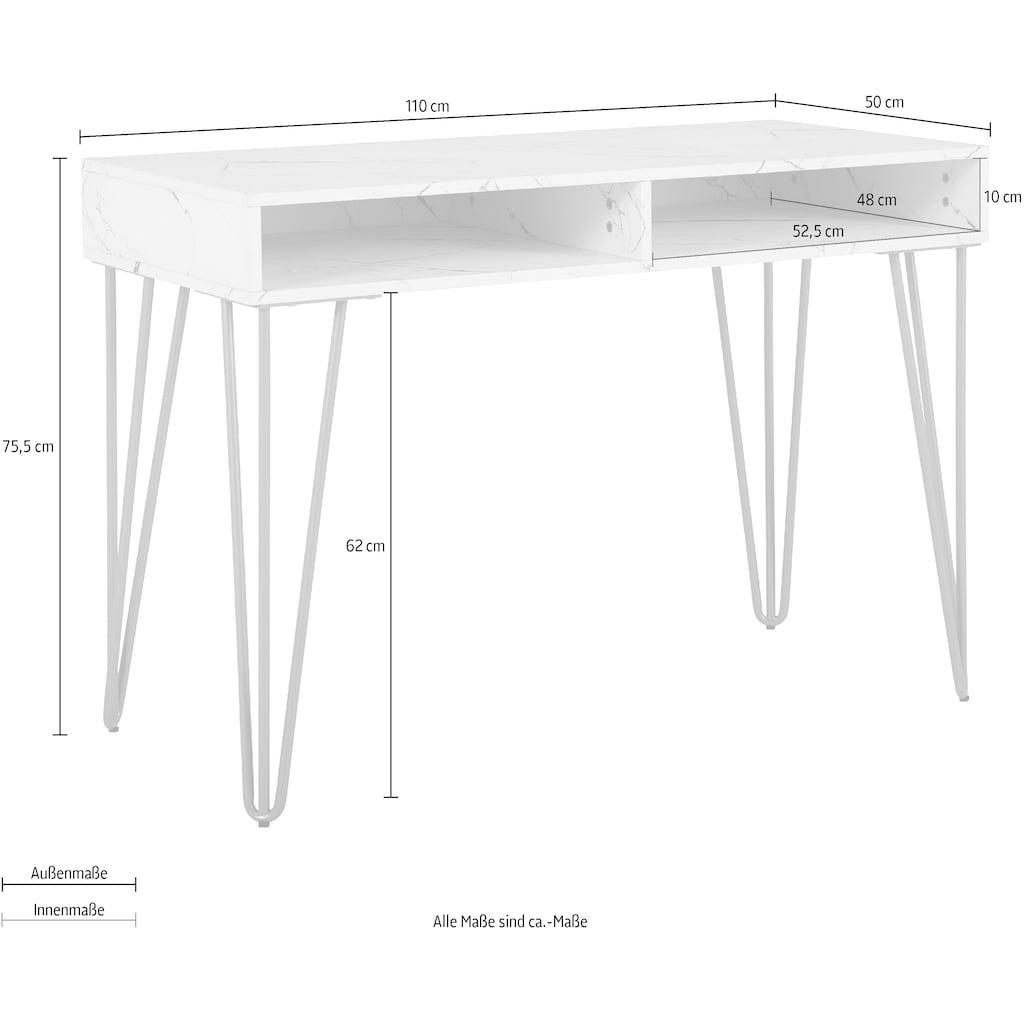 Leonique Schreibtisch »Rivau«, mit einer Marmoroptik Tischplatte, Gestell aus goldfarbenem Metall, auch als Schminktisch geeignet, Konsolentisch