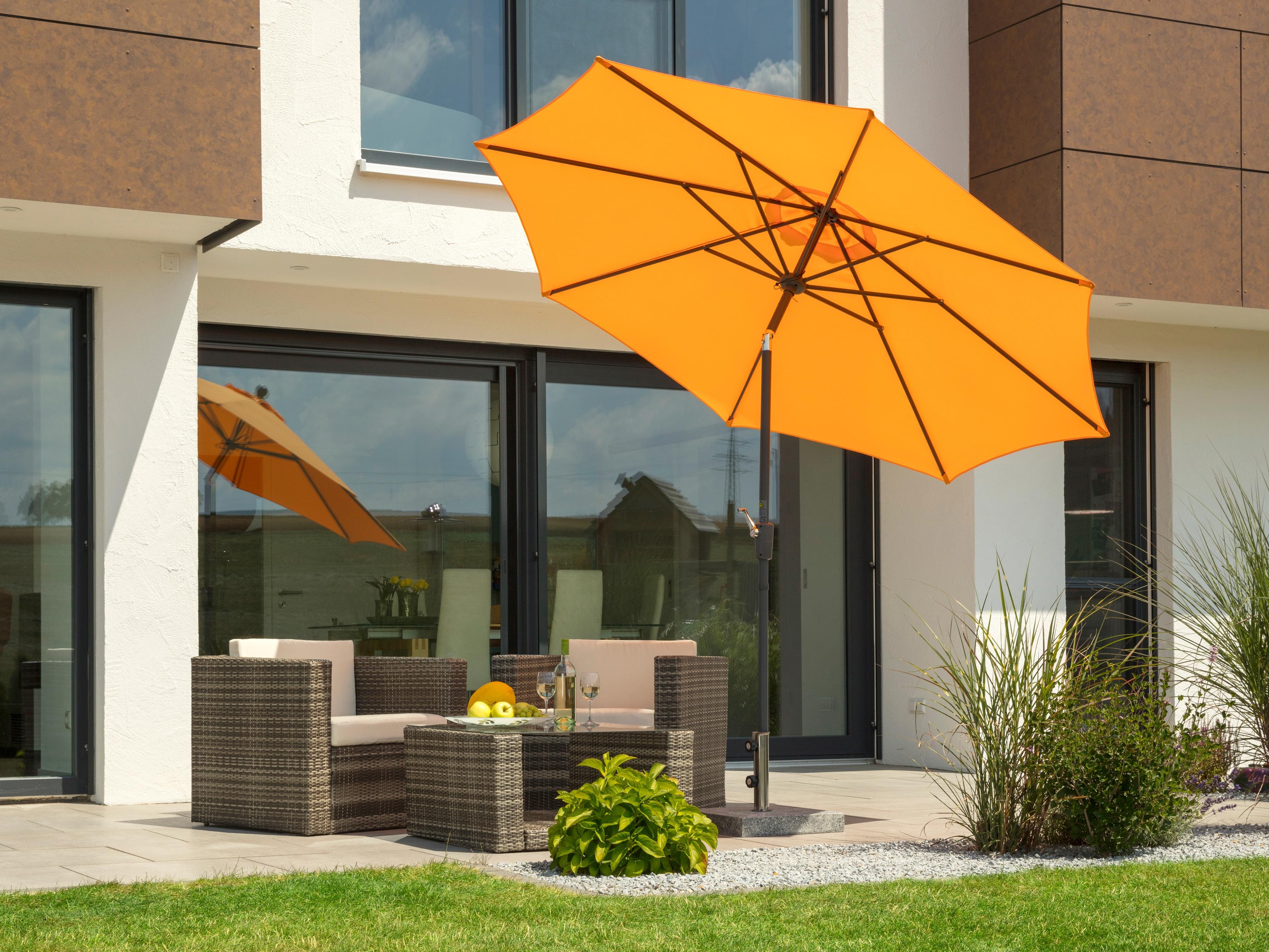 Schneider Schirme Sonnenschirm Harlem, ohne Schirmständer orange Sonnenschirme Garten Balkon