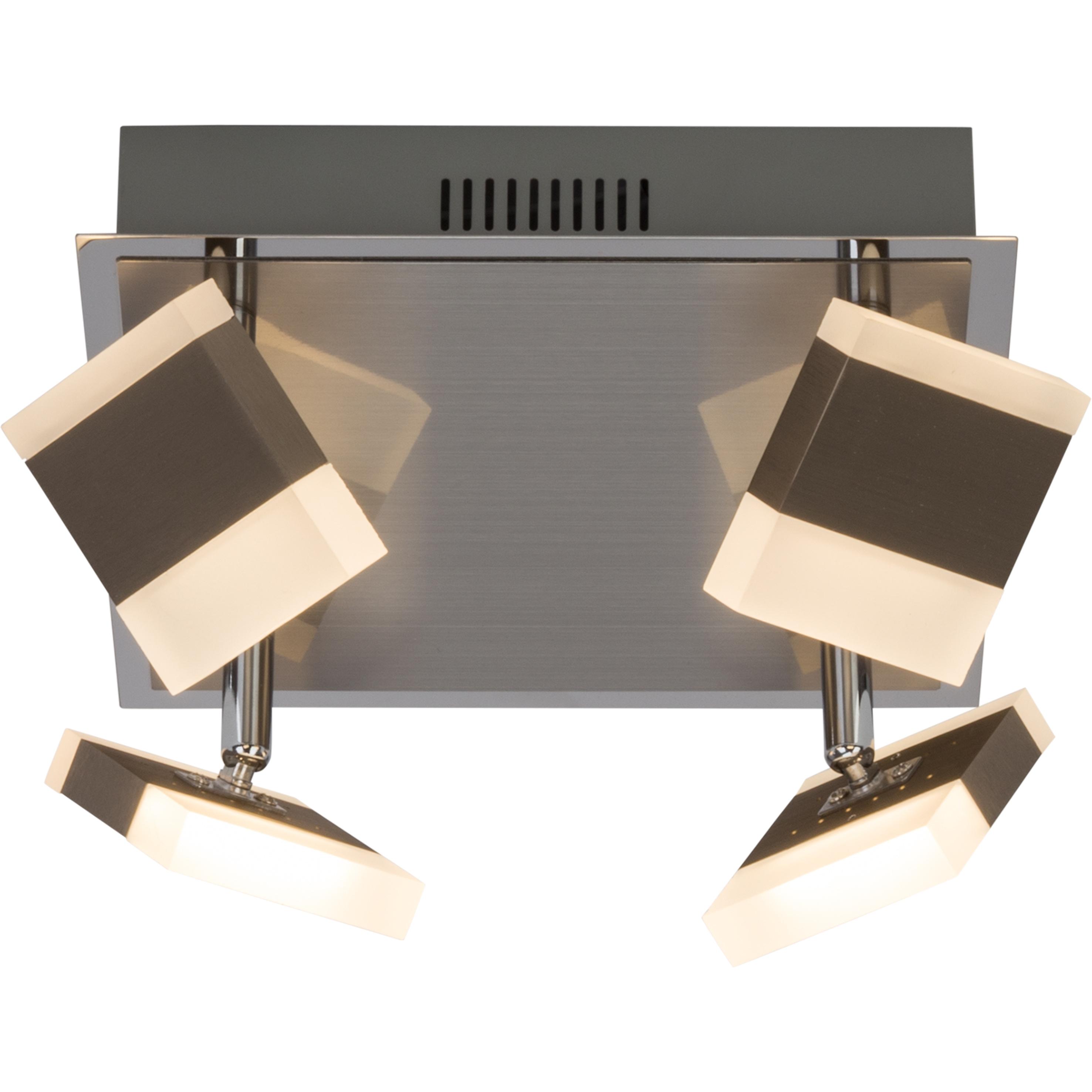 Brilliant Leuchten Target LED Spotplatte 4flg nickel/chrom