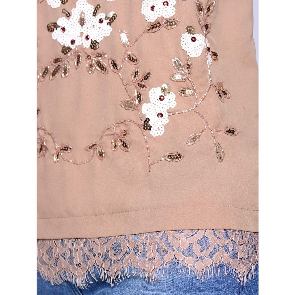 Alba Moda Top mit Blumenstickerei aus Pailletten
