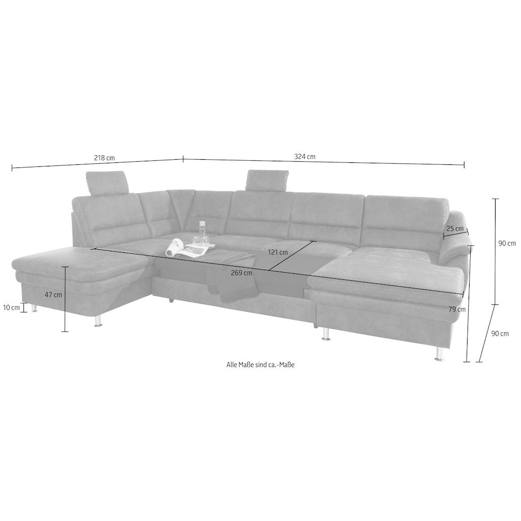 sit&more Wohnlandschaft, mit Federkern und Kopfstützen, wahlweise mit Bettfunktion und Relaxfunktion