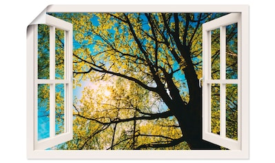 Artland Wandbild »Fensterblick Frühlingssonne Baumkrone«, Bäume, (1 St.), in vielen... kaufen