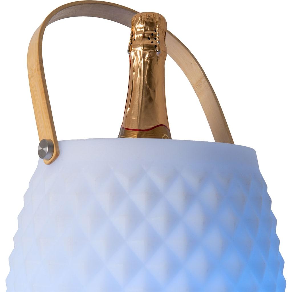 näve LED Außen-Stehlampe »LED Deko-Leuchte«, LED-Modul, 2 St., Farbwechsler, Sektkühler, mit Bluetooth Lautsprecher, Fernbedienung, Bambusgriff