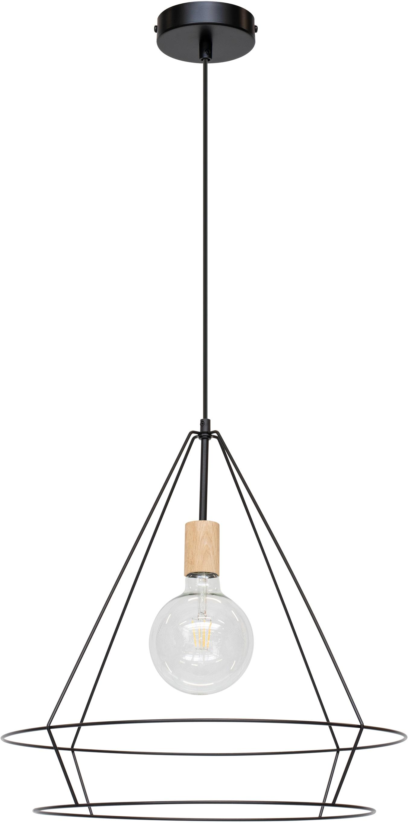 BRITOP LIGHTING Hängeleuchte Casa Triango, E27, 1 St., Dekorative Leuchte aus Metall mit Elementen aus Eichenholz mit FSC-Zertifikat, passende LM E27 / exklusive, Made in Europe