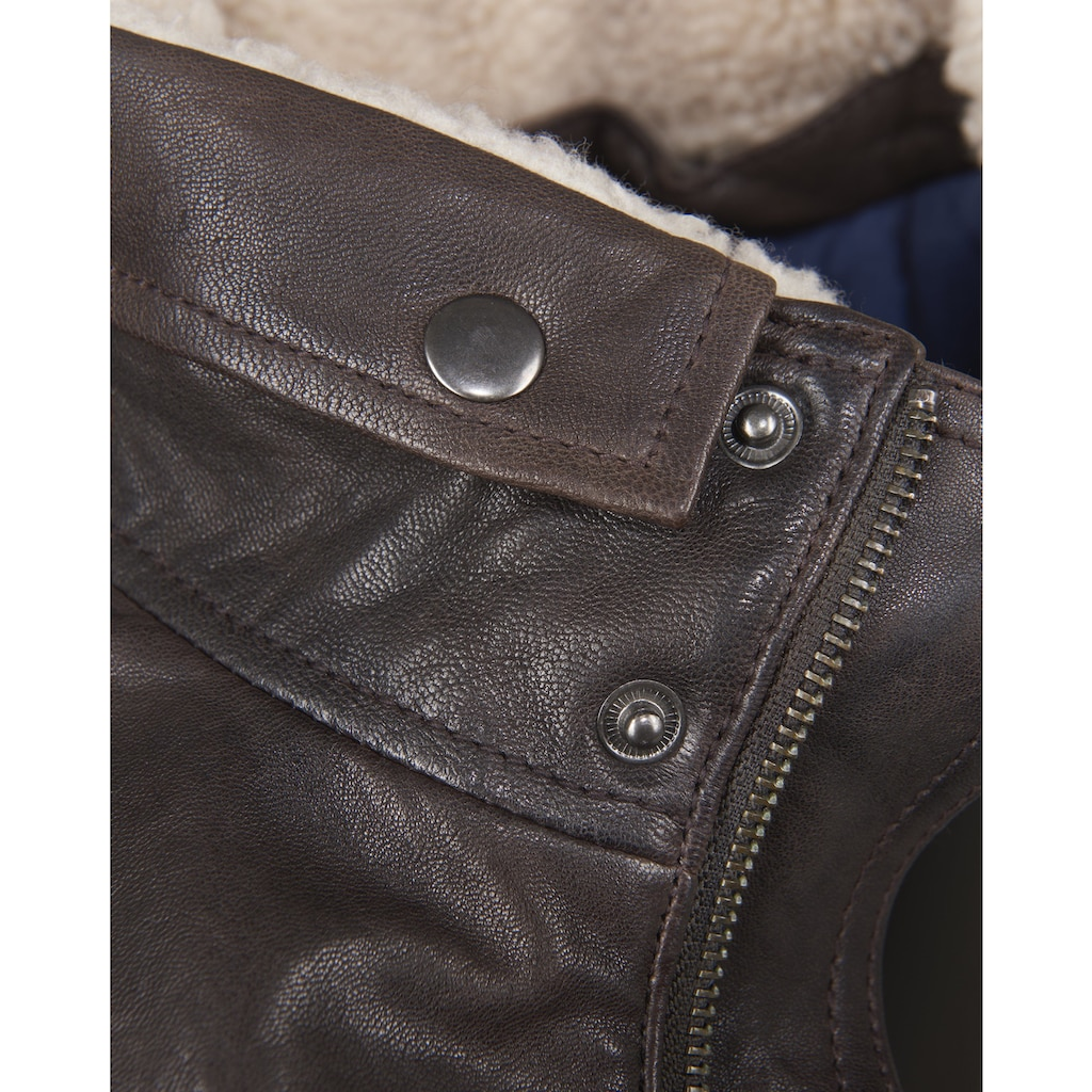 Maze Lederjacke mit abnehmbarem Fellkragen