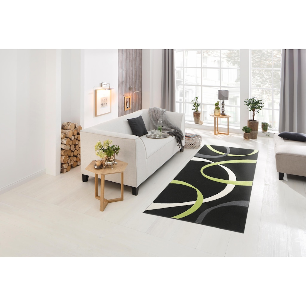 my home Teppich »Bilbao«, rechteckig, 13 mm Höhe, mit handgearbeitetem Konturenschnitt, Wohnzimmer