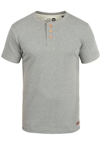 Solid Rundhalsshirt »Toki«, Kurzarmshirt mit Knopfleiste kaufen
