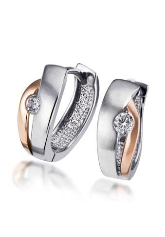 goldmaid Paar Creolen Silber 925/ -  rot - weiss Optik 1 Zirkonia kaufen