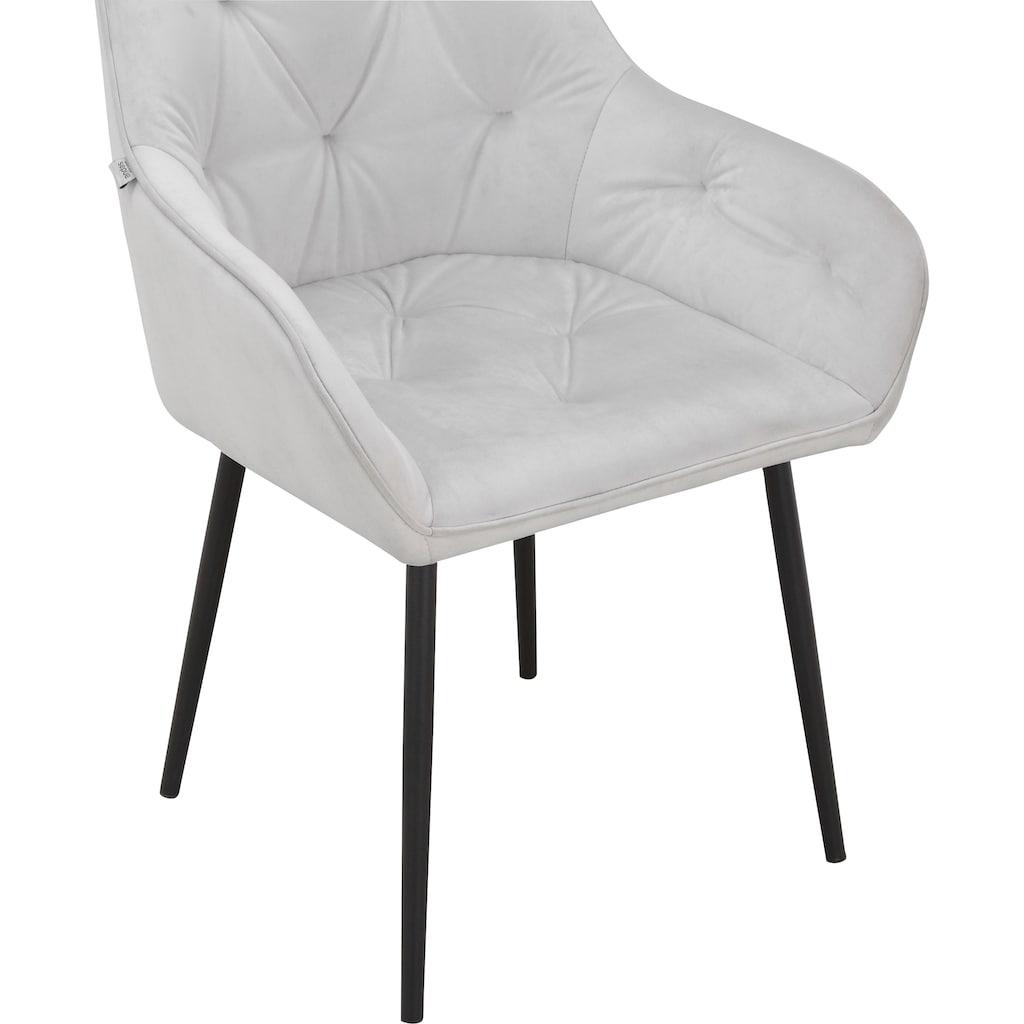 INOSIGN Armlehnstuhl »Betty«, im 1er und 2er Set erhältlich, mit weichem Samtvelours Bezug, mit zwei unterschiedlichen Beinfarben schwarz und eichefarben auswählbar, Sitzhöhe 49 cm