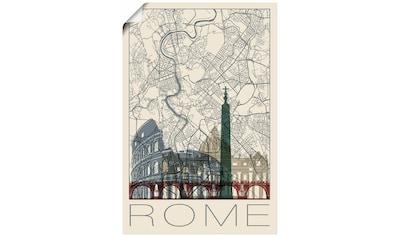 Artland Wandbild »Retro Karte Rom Italien und Skyline«, Italien, (1 St.), in vielen Größen & Produktarten - Alubild / Outdoorbild für den Außenbereich, Leinwandbild, Poster, Wandaufkleber / Wandtattoo auch für Badezimmer geeignet kaufen
