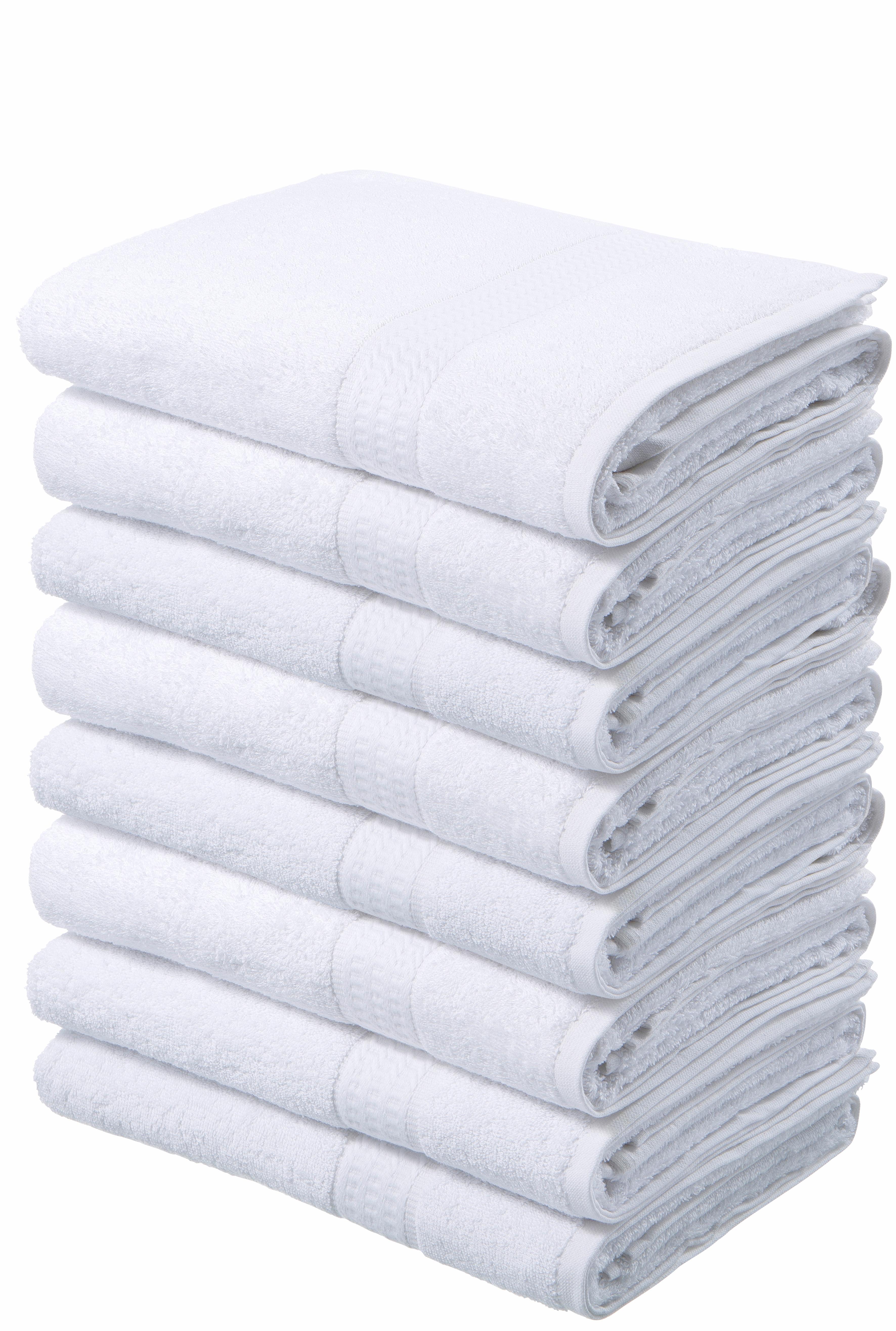 my home Handtücher Juna, (8 St.), im Vorteilspack weiß Badetücher