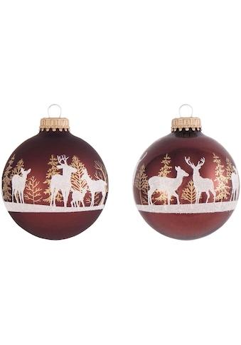 Krebs Glas Lauscha Weihnachtsbaumkugel »CBK60294«, (Set, 4 St.), mit Waldhirsch kaufen