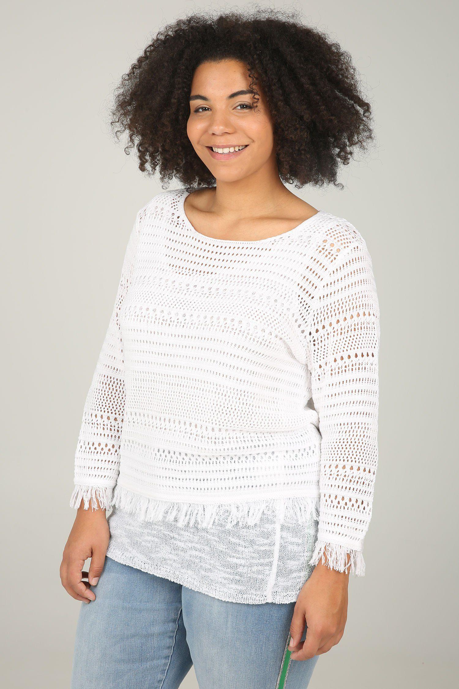 Paprika 3/4 Arm-Pullover Pullover mit Ajourmuster und Fransen   Bekleidung > Pullover > 3/4 Arm-Pullover   Beige   Paprika