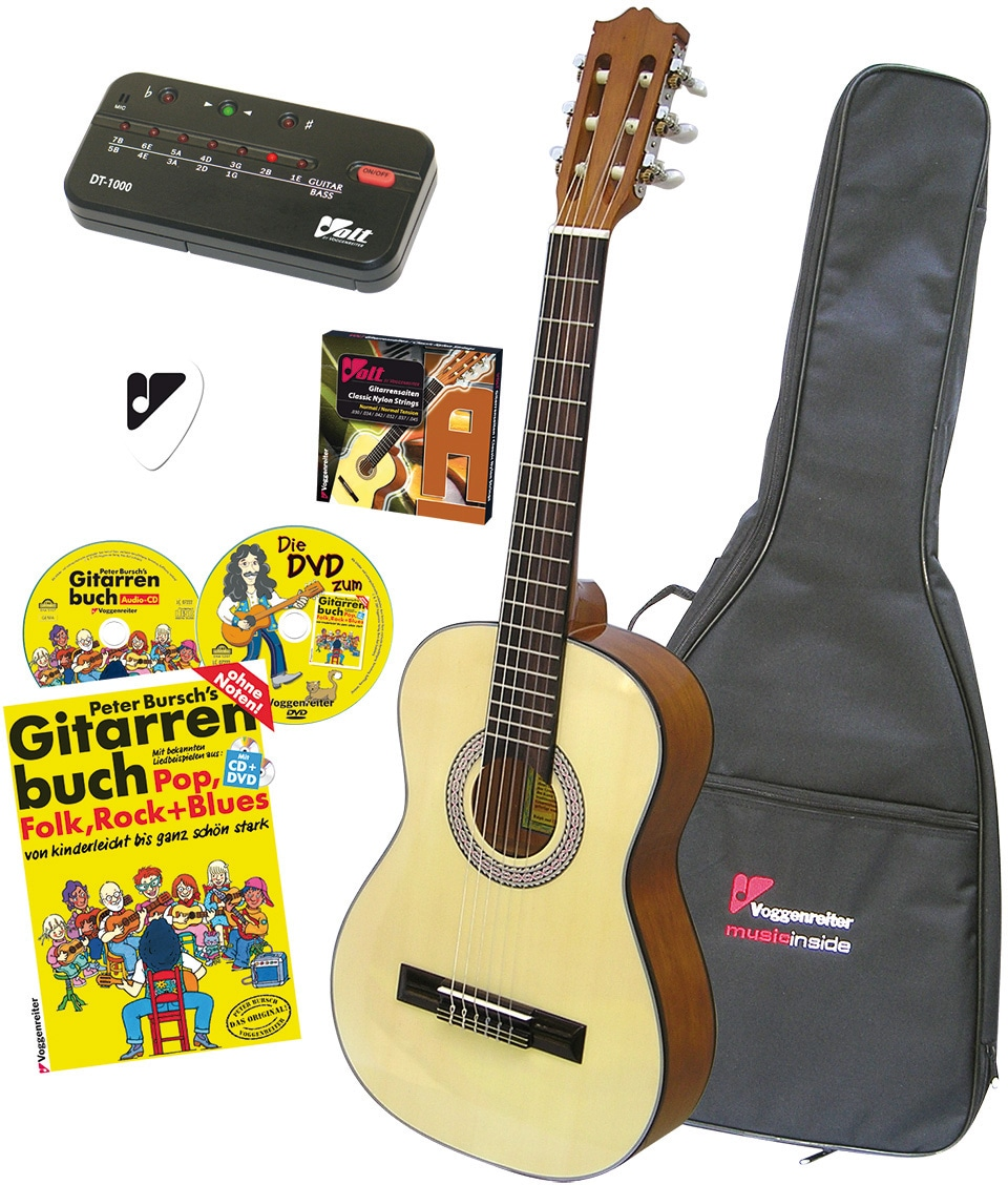Voggenreiter Akustikgitarre VOLT Akustikgitarren-Set, 4/4 beige Gitarre Musikinstrumente
