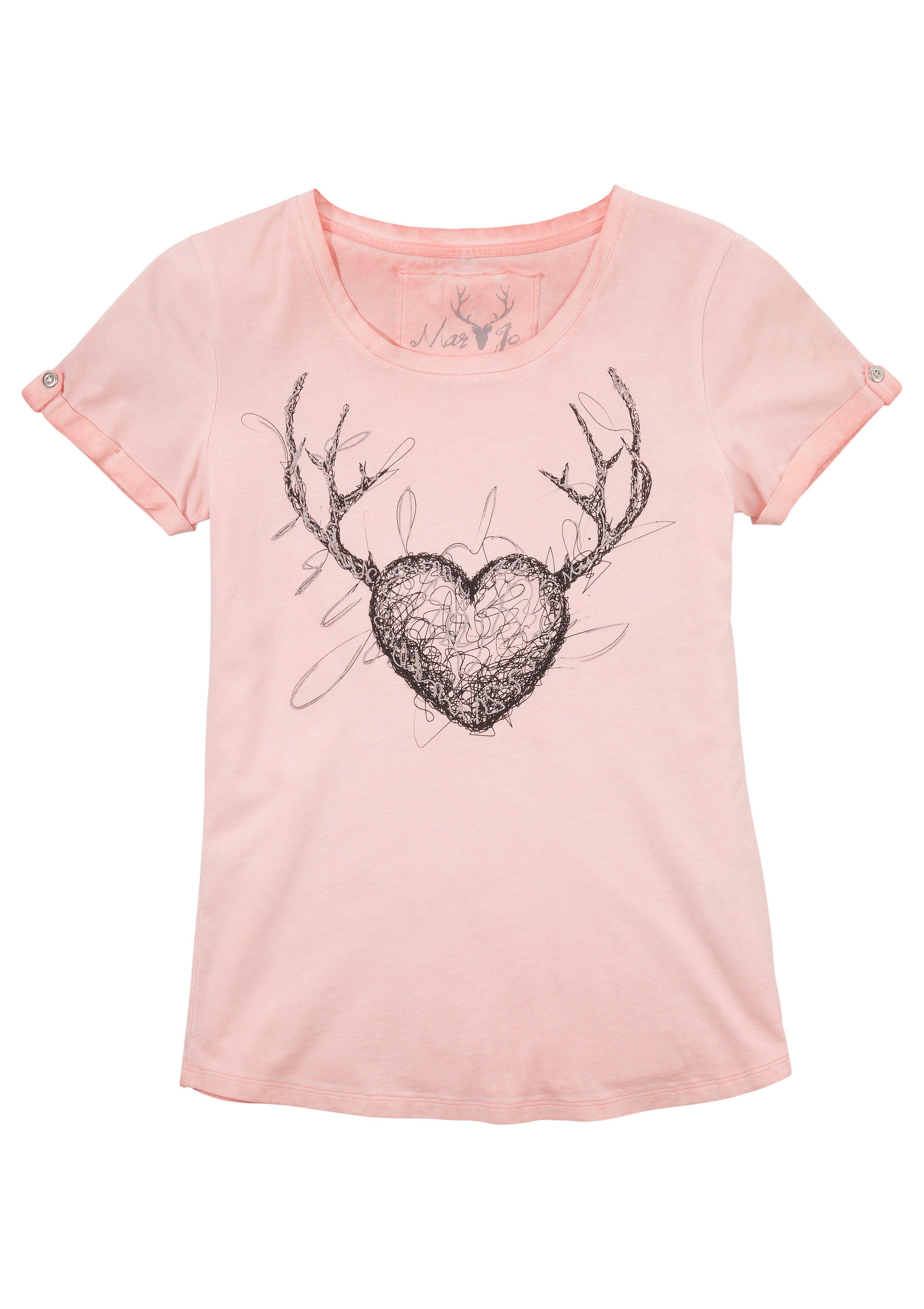 Marjo Trachtenshirt Damen mit Motiv und Glitzerdruck Damenmode/Bekleidung/Trachtenmode/Trachtenshirts
