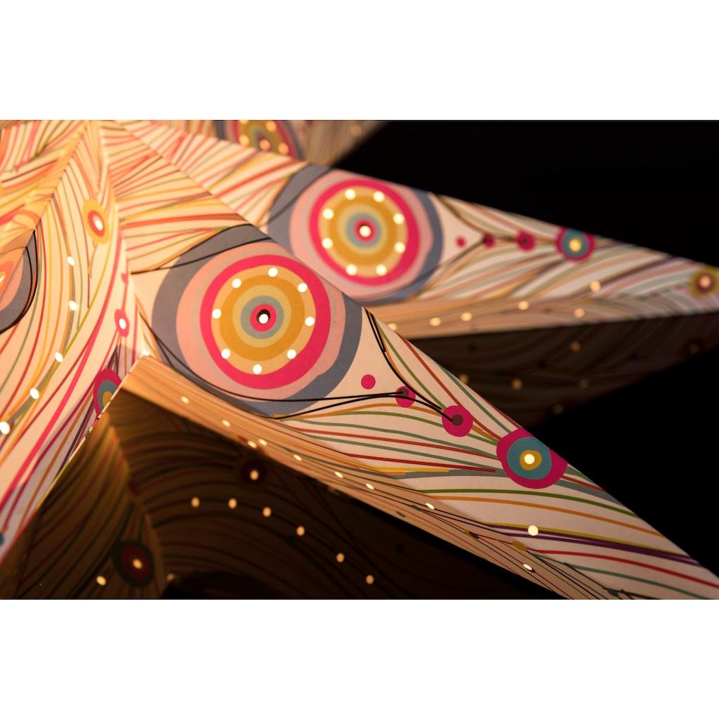 KONSTSMIDE LED Dekoobjekt, E14, Papierstern, perforiert und mit farbigem Musterdruck