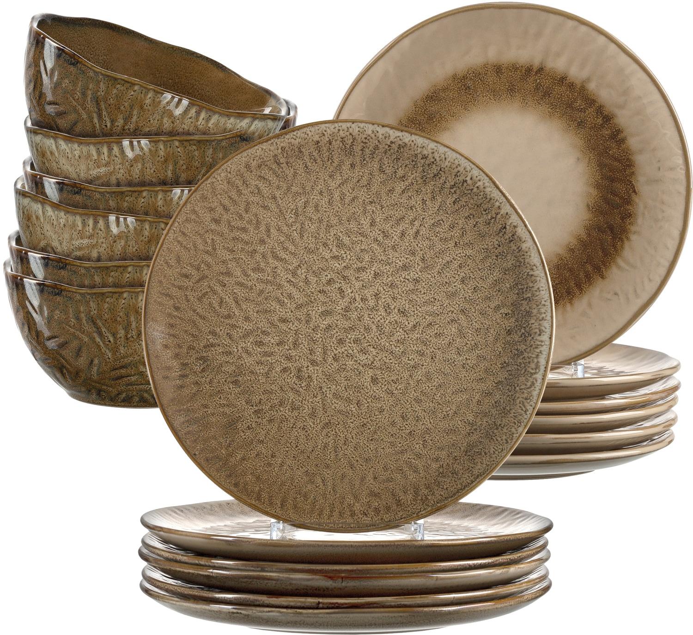 LEONARDO Geschirr-Set Matera, (Set, 18 tlg.), rustikaler Look braun Geschirr-Sets Geschirr, Porzellan Tischaccessoires Haushaltswaren