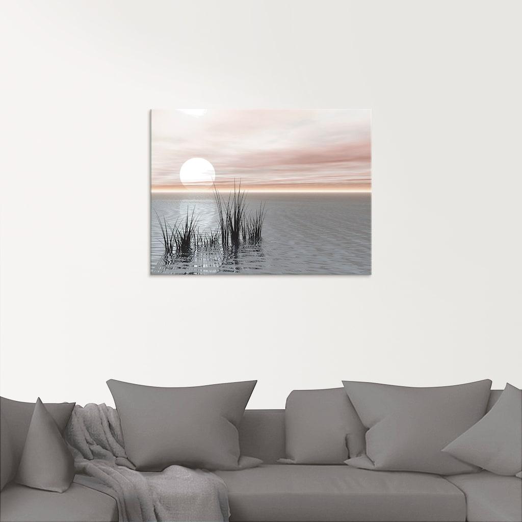 Artland Glasbild »Sonnenuntergang mit Schilf«, Sonnenaufgang & -untergang, (1 St.)