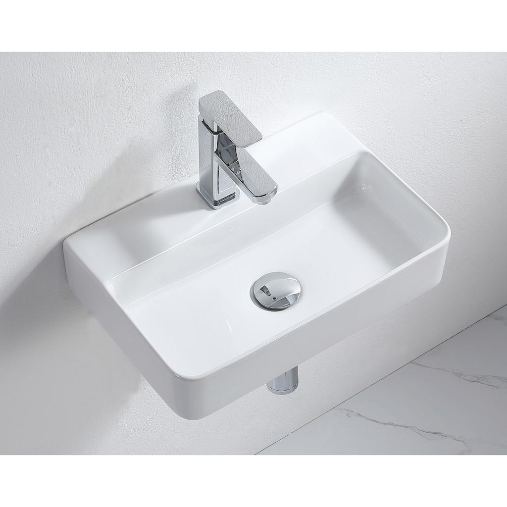 ADOB Aufsatzwaschbecken, als Hänge- oder Aufsatzwaschbecken verwendbar, eckig, inkl. Siphon und Ablaufventil