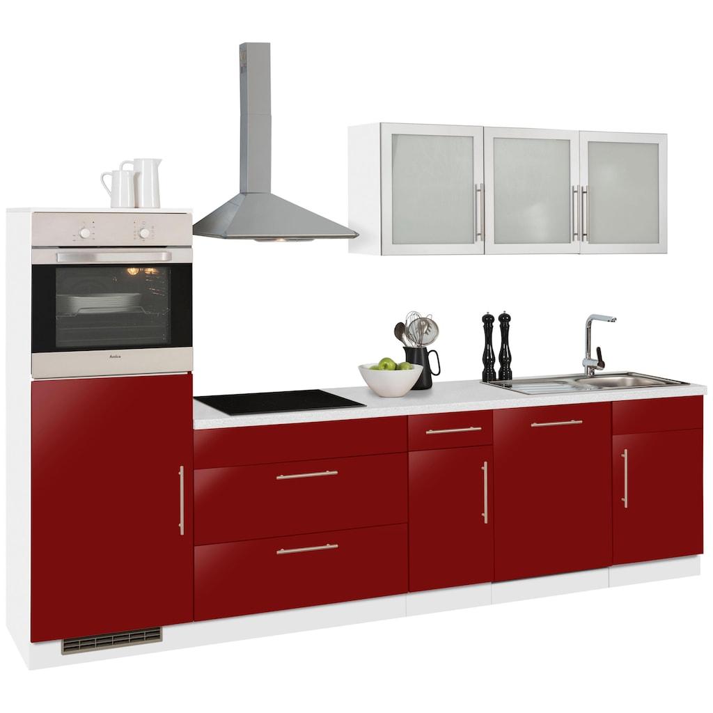 wiho Küchen Küchenzeile »Aachen«, ohne E-Geräte, Breite 300 cm