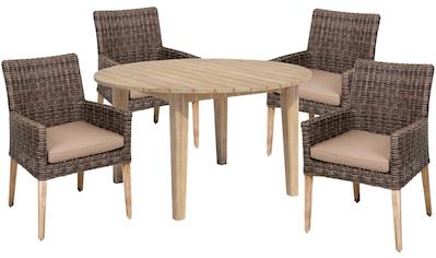 GARDEN PLEASURE Gartenmöbelset »NORVELL/ARVADA«, 9 - tlg., 4 Sessel, Tisch, Polyrattan, inkl. Auflagen kaufen