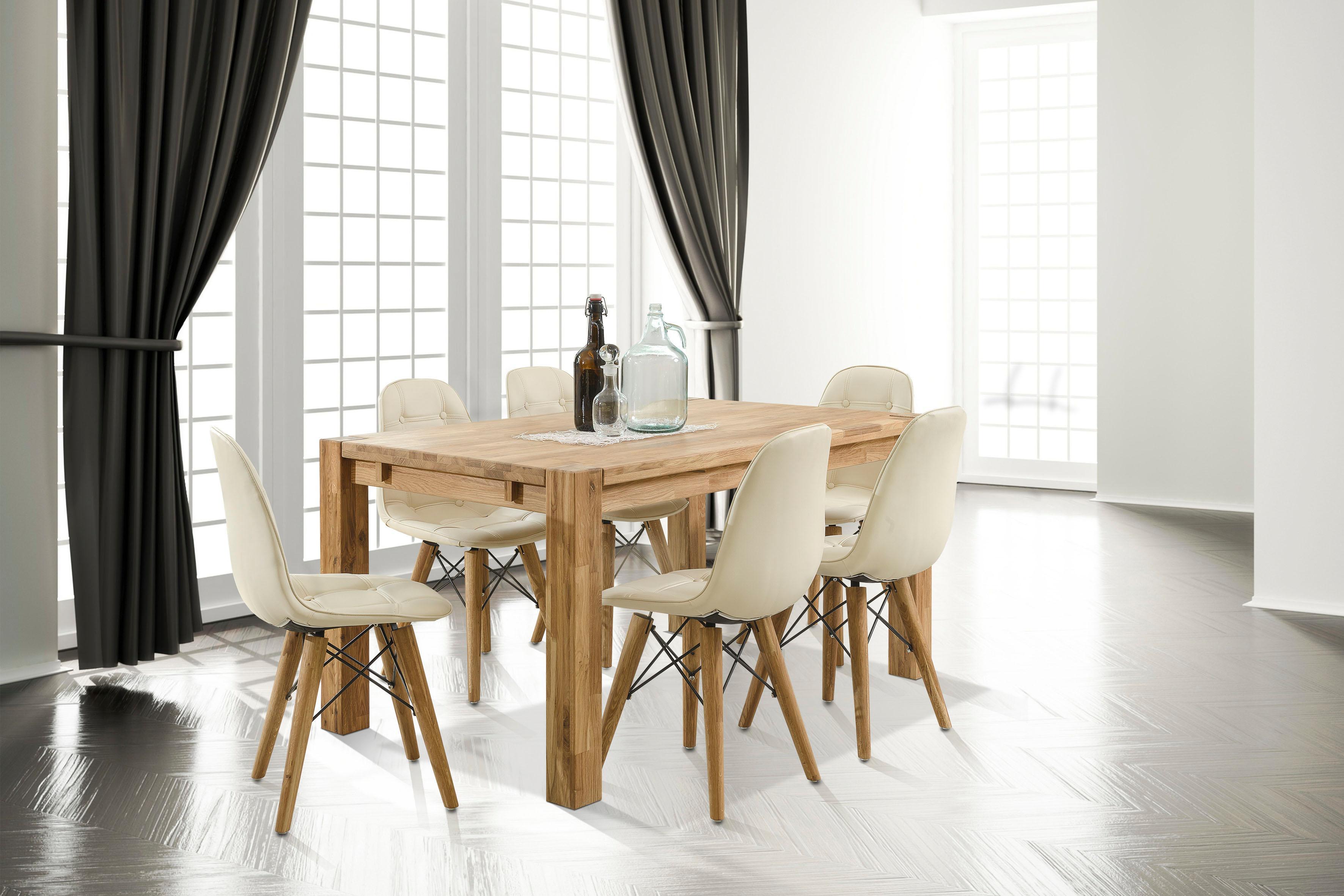 Home affaire Essgruppe Tim (Set, 7-tlg) beige Holz-Esstische Holztische Tische Sitzmöbel-Sets