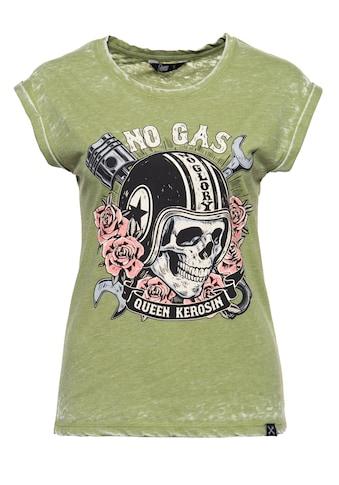 QueenKerosin Print-Shirt »No Gas No Glory«, mit Frontprint und Enzyme Wash kaufen