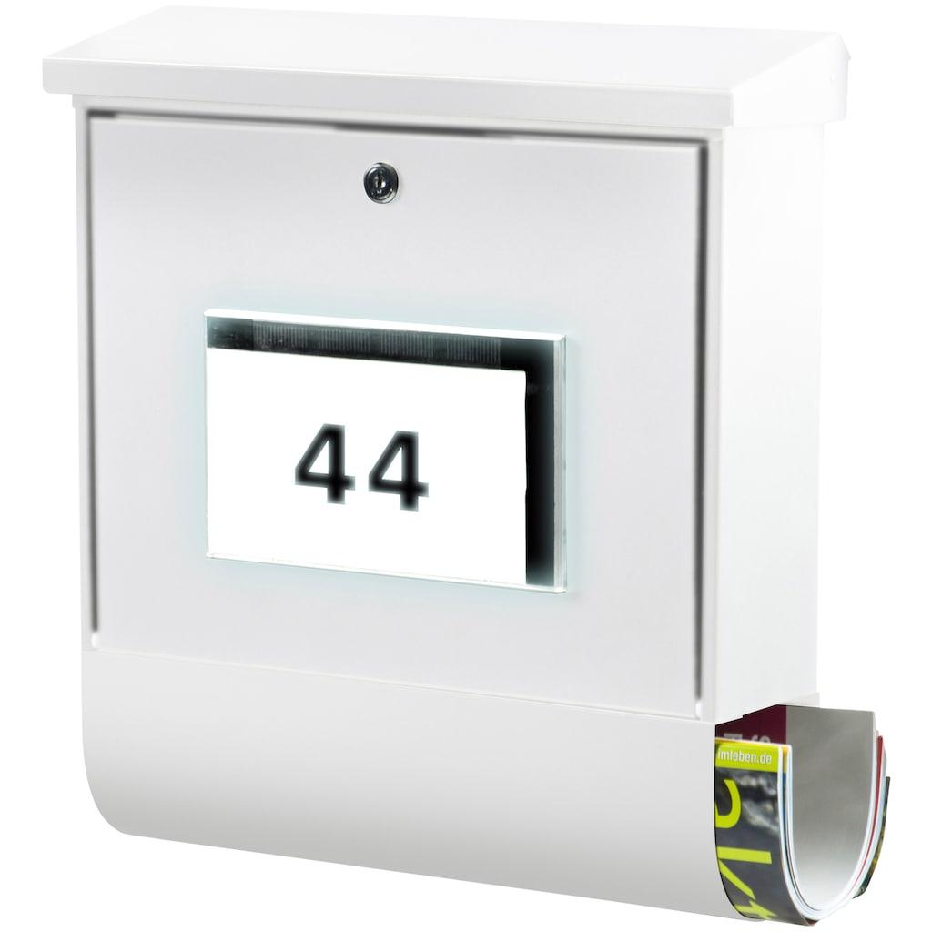 Burg Wächter Briefkasten »Malaga 4400 W«, mit Solarenergie, separatem Zeitungsfach und Beleuchtung