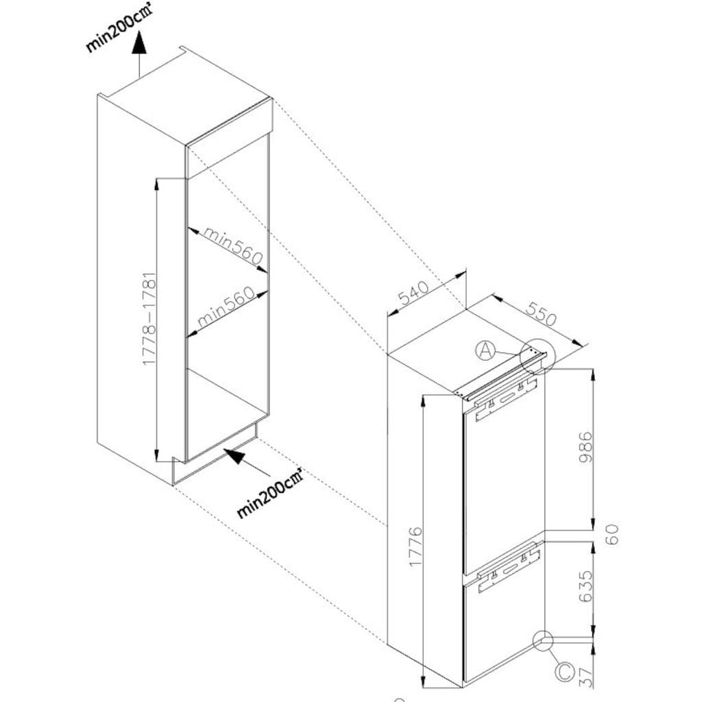 Amica Einbaukühlgefrierkombination »EKGCX 387 901«