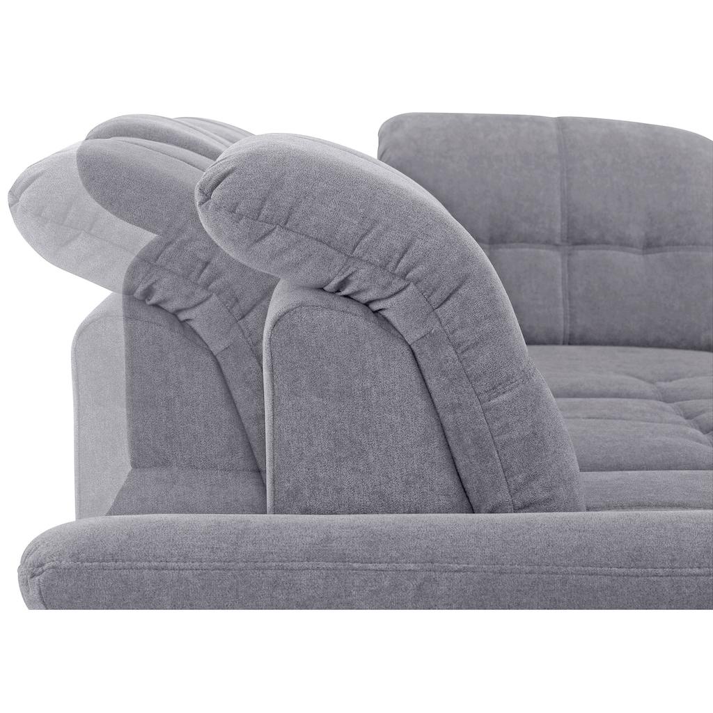 DELAVITA Ecksofa »Lotus Luxus«, mit Ottomanenabschluß in vielen Varianten, incl. 3x Sitztiefenverstellung mit besonders hohem Sitzkomfort, belastbar bis ca. 140kg