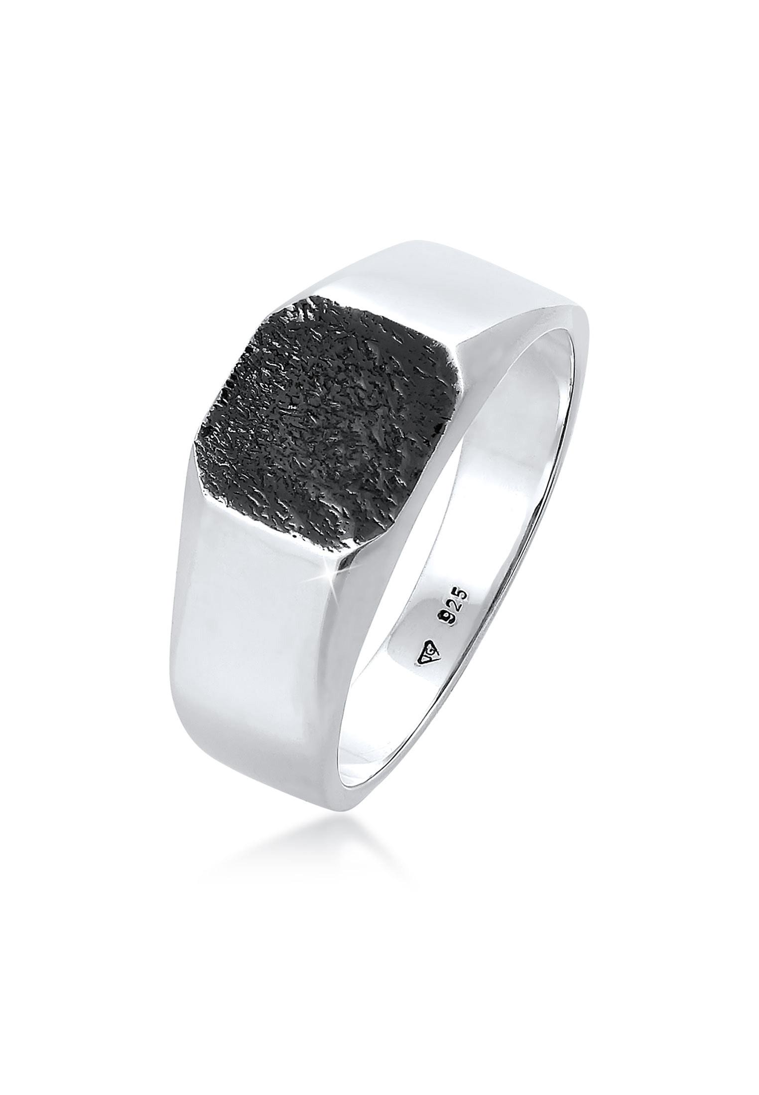 kuzzoi -  Silberring Basic Siegelring Herren Quadrat Matt 925 Silber