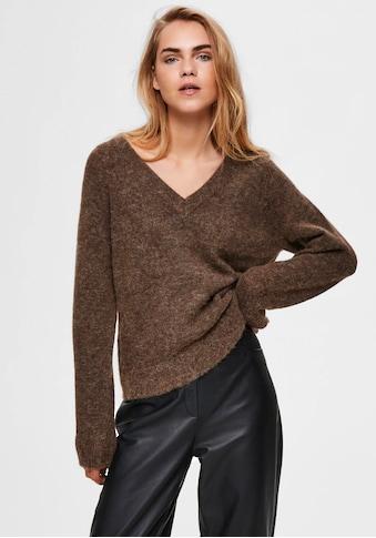SELECTED FEMME V-Ausschnitt-Pullover »SLFLULU«, aus kuscheliger Wollmix-Qualität kaufen