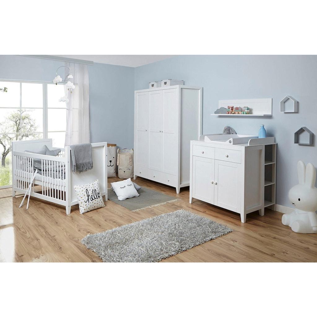 Ticaa Babyzimmer-Komplettset »Rosa«, (Set, 5 St.), Bett + Wickelkommode + Schrank + Wandregal + Anstellregal
